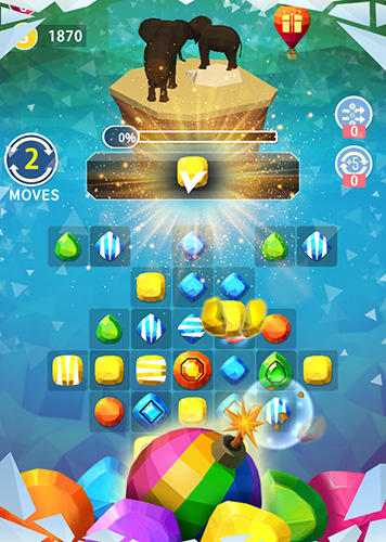 Kostenloses Android-Game Match Earth: Ära der Juwelen. Vollversion der Android-apk-App Hirschjäger: Die Match Earth: Age of jewels für Tablets und Telefone.