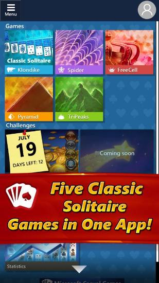 Screenshots do Microsoft solitaire collection - Perigoso para tablet e celular Android.