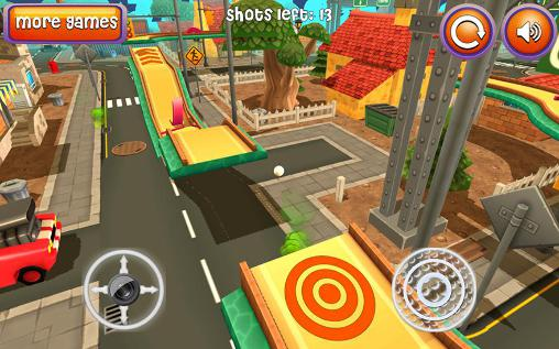 Mini golf: Cartoon city für Android spielen. Spiel Mini Golf: Cartoon Stadt kostenloser Download.