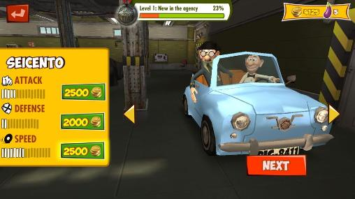 Kostenloses Android-Game Mortadelo und Filemon: Wilde Fahrt. Vollversion der Android-apk-App Hirschjäger: Die Mortadelo and Filemon: Frenzy drive für Tablets und Telefone.
