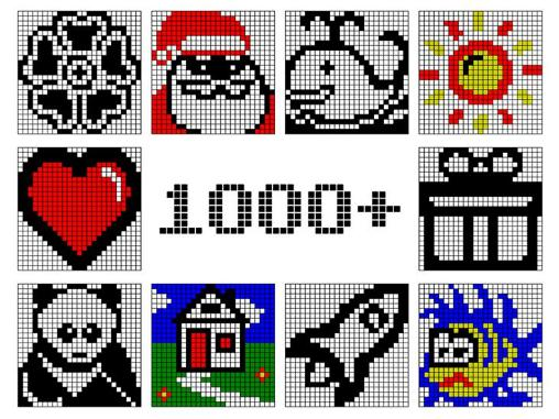Screenshots of the NonogramZ 1000+ pic-a-pix for Android tablet, phone.