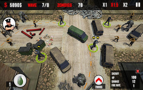 Screenshots do NY Police: Zombie defense - Perigoso para tablet e celular Android.