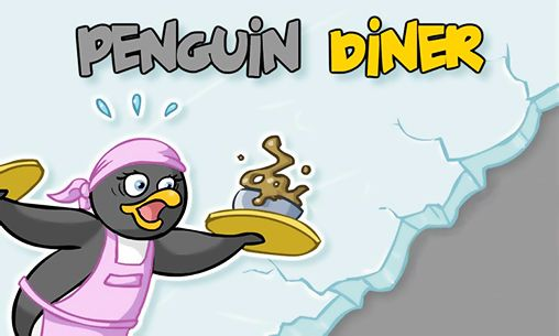Penguin diner. Ice penguin restaurant poster
