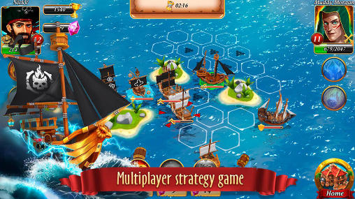 Kostenloses Android-Game Piratenschlachten: Korsarenbucht. Vollversion der Android-apk-App Hirschjäger: Die Pirate battles: Corsairs bay für Tablets und Telefone.