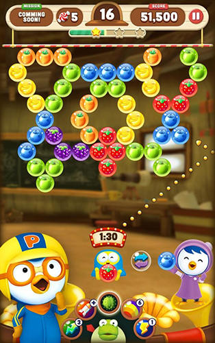 Pororo: The little penguin. Bubble shooter für Android spielen. Spiel Pororo: Der Kleine Pinguin. Bubble Shooter kostenloser Download.