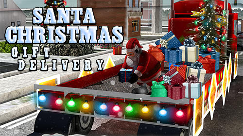 Santa Christmas gift delivery poster