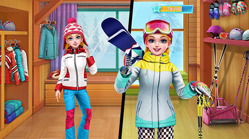 Screenshots von Ski girl superstar: Winter sports and fashion game für Android-Tablet, Smartphone.