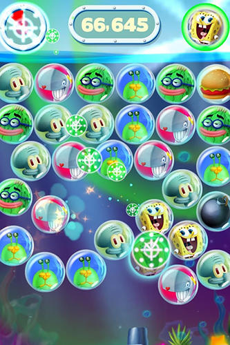 Kostenloses Android-Game SpongeBob Blasen-Party. Vollversion der Android-apk-App Hirschjäger: Die Sponge Bob bubble party für Tablets und Telefone.