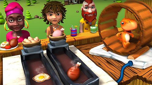 Screenshots von Stone age chef: The crazy restaurant and cooking game für Android-Tablet, Smartphone.