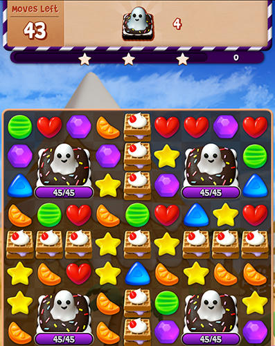 Android タブレット、携帯電話用Sugar witch: Sweet match 3 puzzle gameのスクリーンショット。