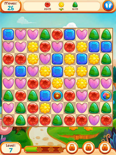 Kostenloses Android-Game Süße Süßigkeiten 2: Cookie Crush Candy Match 3. Vollversion der Android-apk-App Hirschjäger: Die Sweet candies 2: Cookie crush candy match 3 für Tablets und Telefone.