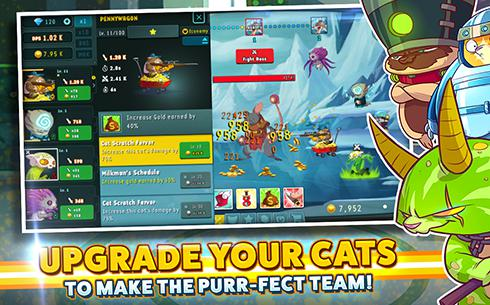 Screenshots of the Tap cats: Idle warfare for Android tablet, phone.