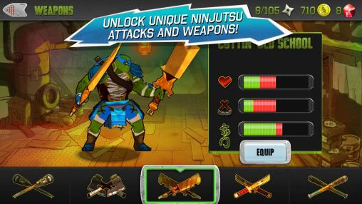 Kostenloses Android-Game Teenage Mutant Ninja Turtles. Vollversion der Android-apk-App Hirschjäger: Die Teenage mutant ninja turtles für Tablets und Telefone.