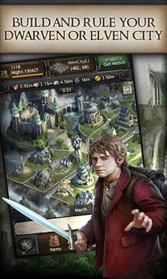 Écrans de The Hobbit Kingdoms of Middle-Earth pour tablette et téléphone Android.