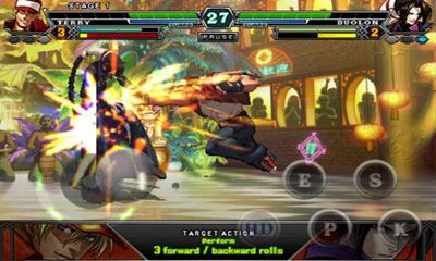 Écrans de The King of Fighters pour tablette et téléphone Android.