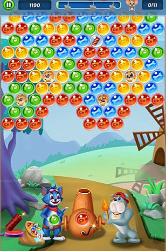 Screenshots of the Tomcat pop: Bubble shooter for Android tablet, phone.