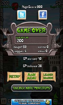 Screenshots of the Veggie Samurai Uprising for Android tablet, phone.