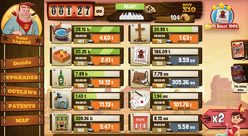 Screenshots von Wild West saga: Legendary idle tycoon für Android-Tablet, Smartphone.