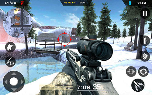 Android タブレット、携帯電話用Winter mountain sniper: Modern shooter combatのスクリーンショット。