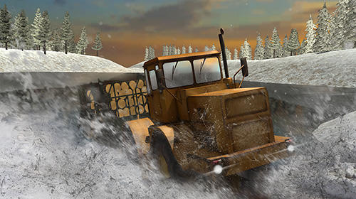 Winter timber truck simulator скриншот 2