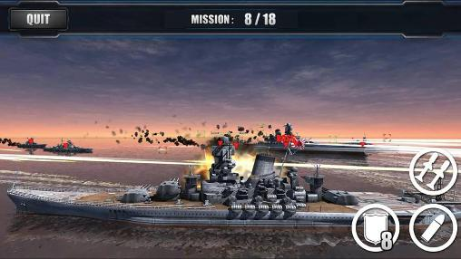 Kostenloses Android-Game Welt der Kriegsschiffsschlachten. Vollversion der Android-apk-App Hirschjäger: Die World warships combat für Tablets und Telefone.