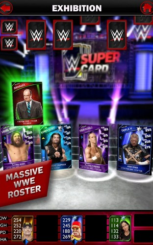 Screenshots of the WWE Super сard for Android tablet, phone.