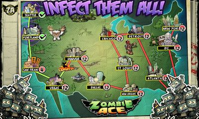 Screenshots of the Zombie Ace for Android tablet, phone.
