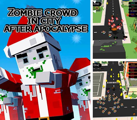 Zombie crowd in city after apocalypse