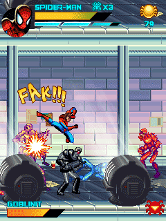 Скриншот java игры Spiderman: Toxic City. Игровой процесс.