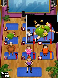Mobil-Spiel Pump es Auf: Aerobik! - Screenshots. Spielszene Pump It Up: Aerobics!.