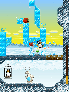 Jeu mobile La Catapulte de Fou de Pinguins - captures d'écran. Gameplay Crazy Penguin Catapult.