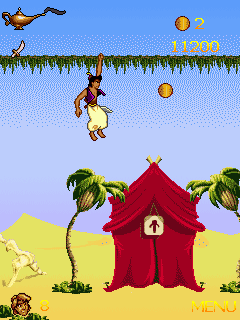 Скриншот java игры Aladdin 2: The new adventure. Игровой процесс.
