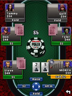 Скриншот java игры World Series Of Poker: Hold'em Legend. Игровой процесс.
