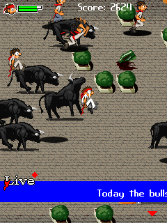Download free game for mobile phone: Bull Running 2010 - download mobile games for free.