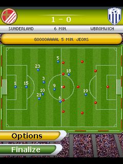 Mobil-Spiel Spiel Fußball: Manager 2011 - Screenshots. Spielszene Play Football Manager 2011.