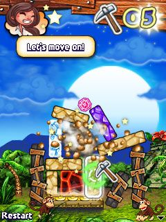 Mobil-Spiel Diamanten-Trockner - Screenshots. Spielszene Diamond Tumble.