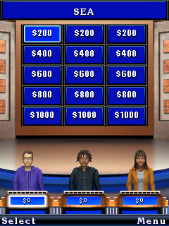 Скріншот java гри Jeopardy! Deluxe. Ігровий процес.