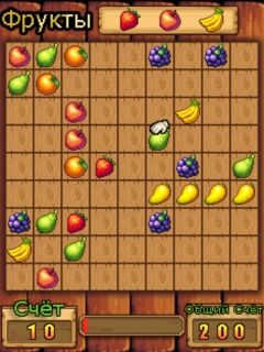 Mobil-Spiel Sammle Obst - Screenshots. Spielszene Collect fruits.