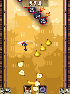 Jeu mobile Ninja Sautant: le Découpage de Fruits - captures d'écran. Gameplay The ninja jumping: Cut fruit.