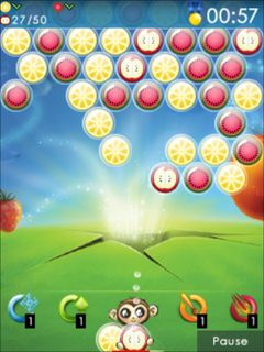 Скриншот java игры Fruit bubbles. Игровой процесс.