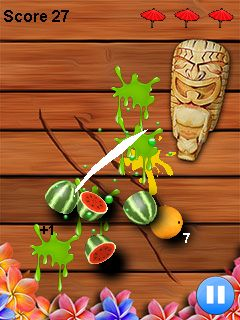 Download free game for mobile phone: Fruit cut ninja - download mobile games for free.
