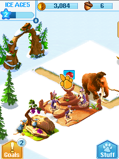 Mobil-Spiel Ice Age Village - Screenshots. Spielszene Ice age village.
