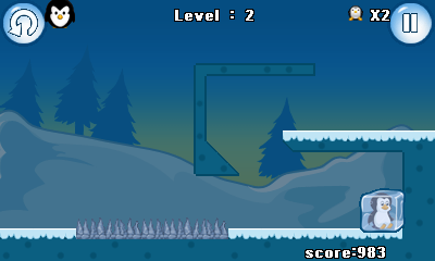 Jeu mobile Manchot sur la glace   - captures d'écran. Gameplay Frozen penguin.