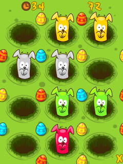 Mobil-Spiel Hot Cross: Häschen - Screenshots. Spielszene Hot cross: Bunnies.