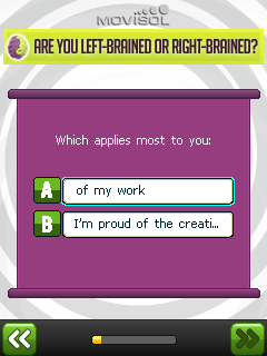 Скриншот java игры Are you left-brained or right-brained?. Игровой процесс.