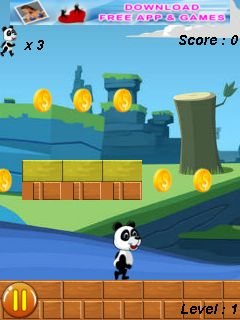 Jeu mobile Panda, cours  - captures d'écran. Gameplay Panda run.