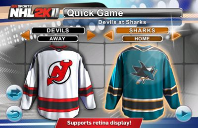 Screenshots of the 2K Sports NHL 2K11 game for iPhone, iPad or iPod.