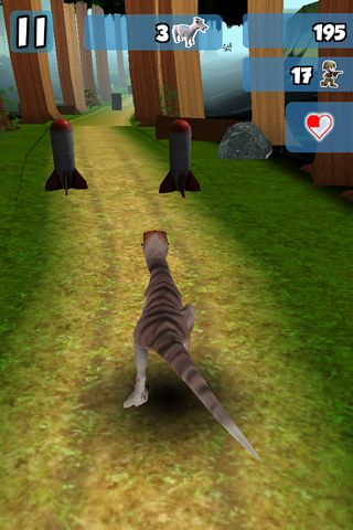 Download 3D Dino raptor race iPhone free game.