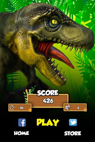 Screenshots of the 3D Dino raptor race game for iPhone, iPad or iPod.