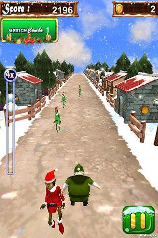 Скриншот игры 3D Santa run & Christmas racing на Айфон.